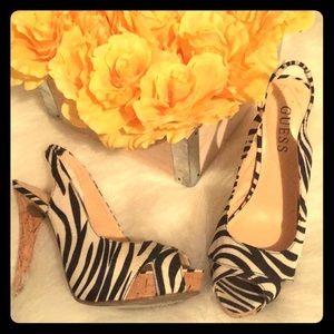 Guess Eliana Black White Slingback Heels